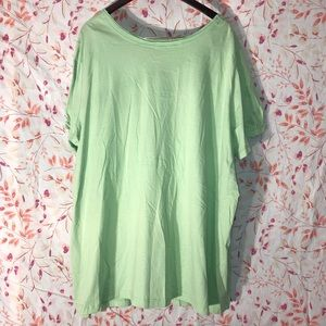 Woman Within Tops - Women's Light Green Woman Within 3X Cotton T-Shirt